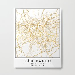 SAO PAULO CITY STREET MAP ART Metal Print