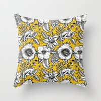 yellow pattern Throw Pillows featuring Yellow by AITCH