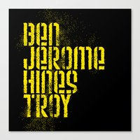 steelers Canvas Prints featuring Ben Jerome Hines Troy / Black by Brian Walker