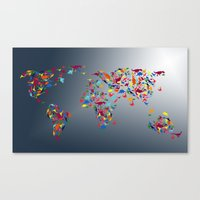 world map Canvas Prints featuring WORLD MAP  by mark ashkenazi