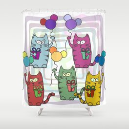 Funny colorful cats with gifts and inflatable balls in their paws Shower Curtain