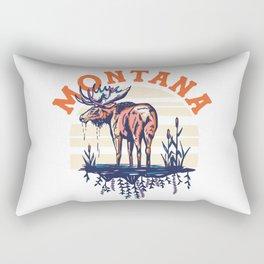 Big Sky Country, Montana. Cool Retro Travel Art Featuring A Moose Rectangular Pillow