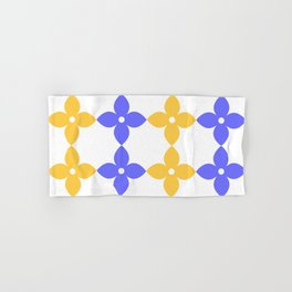 Complementary colors minimal floral pattern - purple yellow Hand & Bath Towel