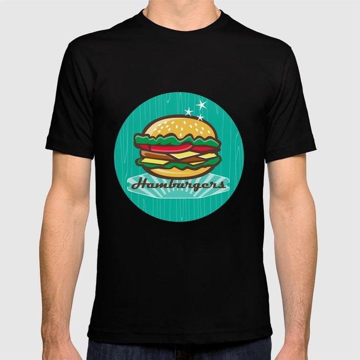 Retro 1950s Diner Hamburger Circle T-shirt