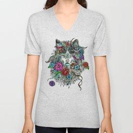 Floral Wolf. Unisex V-Neck