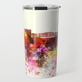 Marseilles skyline in watercolor background Travel Mug