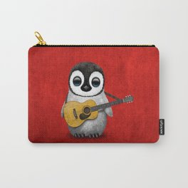 Musical Baby Penguin Playing Acoustic Guitar on Deep Red Carry-All Pouch