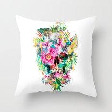 Tropical Skull Throw Pillow