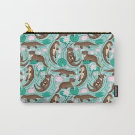 How We Love Each Otter - Mint Background Carry-All Pouch