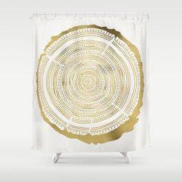 Douglas Fir – Gold Tree Rings Shower Curtain
