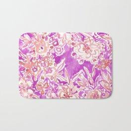 TROPICAL FLAIR Pink Watercolor Floral Bath Mat