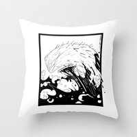 moby dick Throw Pillows featuring Moby Dick by JoJo Seames