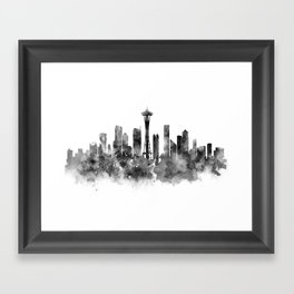 Seattle Black and White Framed Art Print