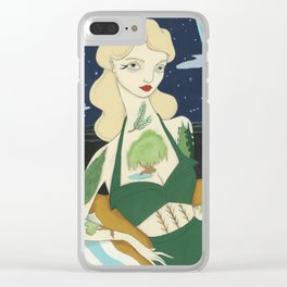 Tattooed Lady with Trees Clear iPhone Case