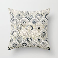 Monochrome Art Deco Marble Tiles Throw Pillow