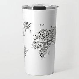 Kanji Calligraphy World Map Travel Mug