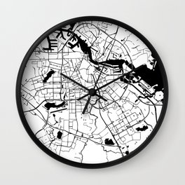 Amsterdam Minimal Map Wall Clock