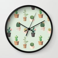 succulents Wall Clocks featuring Succulents  by Tasteful Tatters