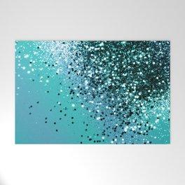 Aqua Blue OCEAN Glitter #1 #shiny #decor #art #society6 Welcome Mat
