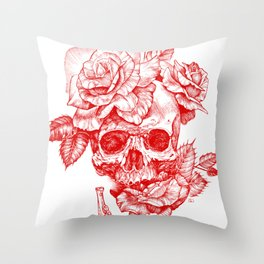 Roses and Human Skull - Red Throw Pillow