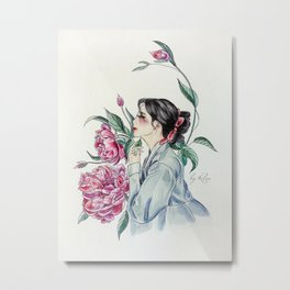 Peonies (Hanbok girls) Watercolor Metal Print