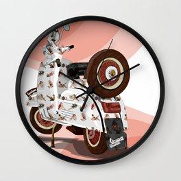 Vespa Vector PinUp Wall Clock