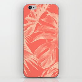 Living Coral Tropical Palm Leaves Monstera iPhone Skin