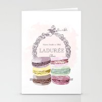 macaroon Stationery Cards featuring French Macaroon, Kitchen Art, Pastel by PeachAndGold