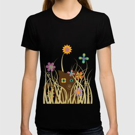 Whimsical Blooming Flowers and Brown Kitty Cat T-shirt