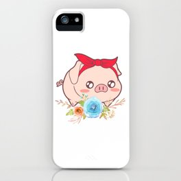 Muddy Pink Pig Farmer Oink Farm Barn Oink Mud Collection Flowers Flower Ribbon T-shirt Design iPhone Case