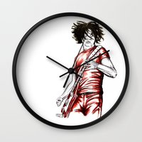 jack white Wall Clocks featuring Jack White Red Watercolor by Tom Brodie-Browne