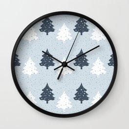 Pine tree forest in winter - pattern Wall Clock