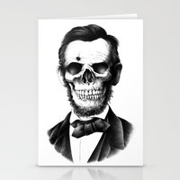 lincoln Stationery Cards featuring Lincoln Skull by BIOWORKZ