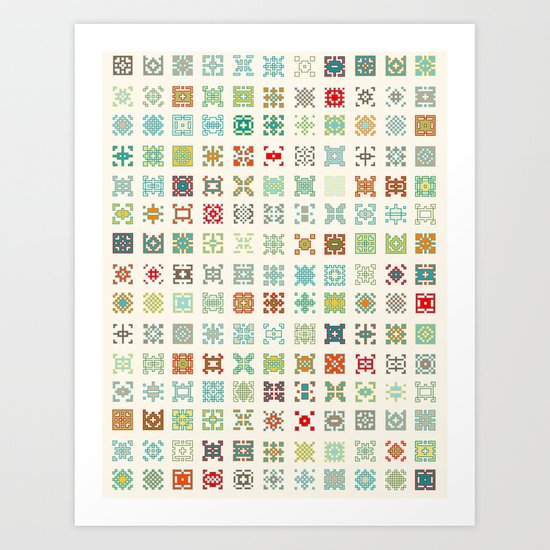 Fairisle 1 Bone Art Print