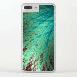 Run Off - Teal and Brown - Fractal Art Clear iPhone Case