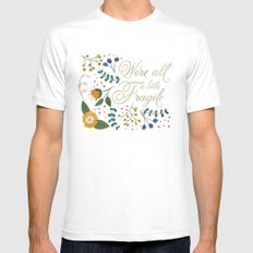 We're All a Little Fragile - Light White MEDIUM Mens Fitted Tee