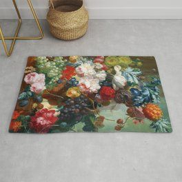 Fruits and Flowers Vintage Painting Rug