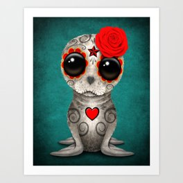 Red Day of the Dead Sugar Skull Seal Baby Art Print