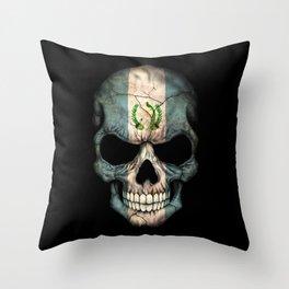 Dark Skull with Flag of Guatemala Throw Pillow