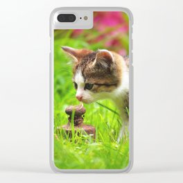 curious little kitten looks around the world Clear iPhone Case
