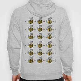Hand drawn black yellow stripes cute honey bee illustration Hoody