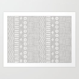 Funky African Mud Cloth in Grey Art Print