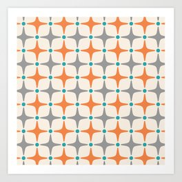 Mid Century Modern Star Pattern Grey and Orange Art Print