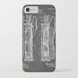 Golf Bag Patent - Caddy Art - Black Chalkboard iPhone Case