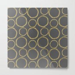 Grey & Gold Circles Metal Print