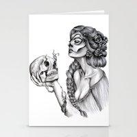 sugar skull Stationery Cards featuring Sugar Skull by April Alayne