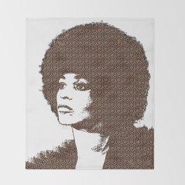 Angela Davis - White Background Throw Blanket