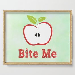 Red Apple Illustration - Bite Me Typography Serving Tray
