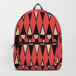 Mid Century Modern Diamond Pattern Red Black cream 231 Backpack