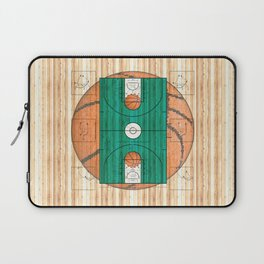 Green Basketball Court with Basketballs Laptop Sleeve